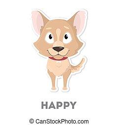 Isolated happy dog.
