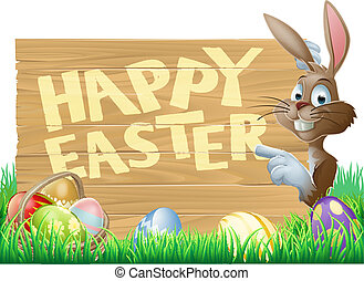 Isolated Happy Easter Bunny