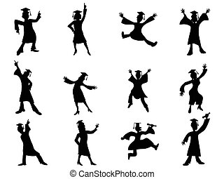 happy graduates Silhouette - isolated happy graduates...