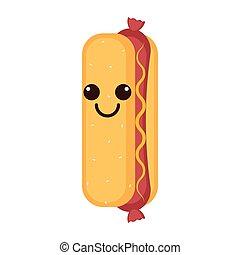 Isolated happy hot dog emote
