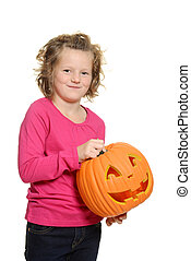 happy little girl with pumpkin
