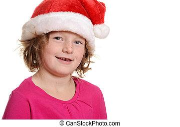 happy little girl with santa hat