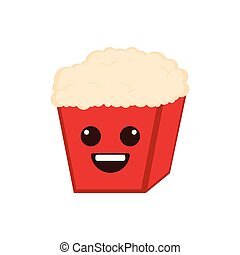 Isolated happy popcorn emote
