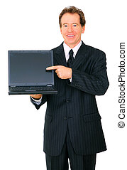 Isolated Happy Senior Businessman Presenting Laptop To Viewer