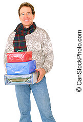 Isolated Happy Senior Caucasian Man Carry Presents