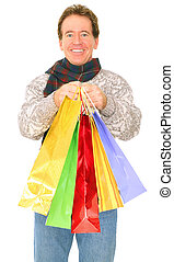 Isolated Happy Senior Caucasian Man Carrying Shopping Bags