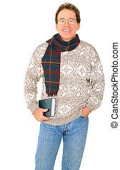Isolated Happy Senior Caucasian Man Holding Book