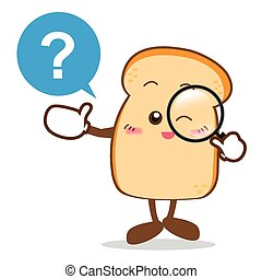 Isolated happy smile searching something Slice of bread cartoon