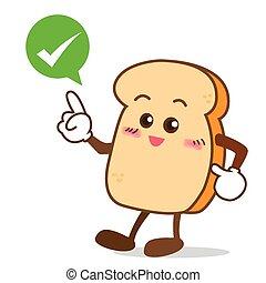Isolated happy smile shop right Slice of bread cartoon