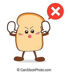 Isolated happy smile Stop action Slice of bread cartoon