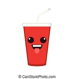 Isolated happy soda emote