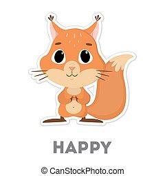 Isolated happy squirrel.