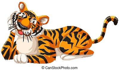 Isolated happy tiger cartoon character