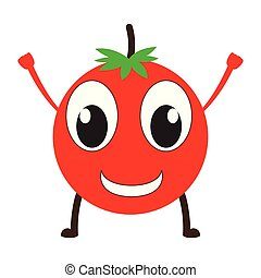 Isolated happy tomato emote