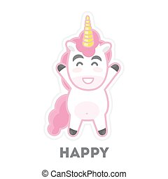 Isolated happy unicorn.