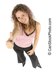 happy woman shows OK