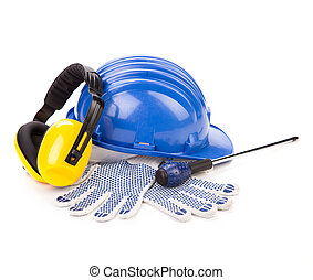 hard hat with tools