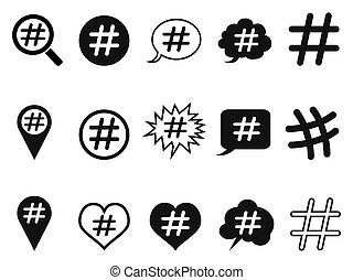 hashtag icons set