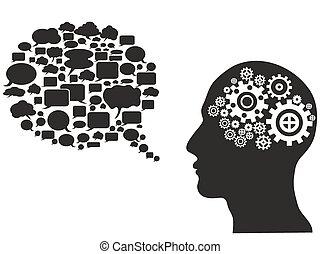 head gears with speech bubble
