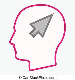 Isolated head with a cursor
