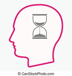 Isolated  head with a sand clock
