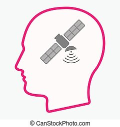 Isolated  head with a satellite