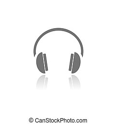 Isolated headphones icon on a white background with reflection