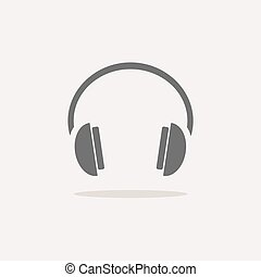 Isolated headphones icon on a white background with shade