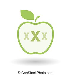 Isolated healthy apple fruit with a XXX letter icon -...