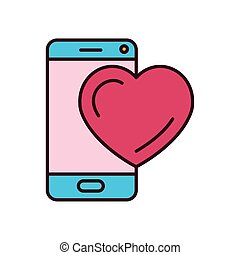 Isolated heart and smartphone icon fill vector design