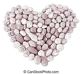 Isolated heart made of round stones
