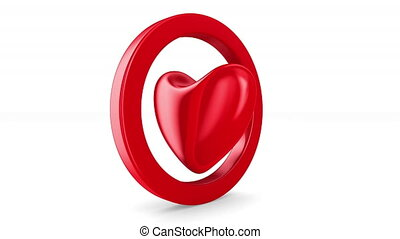 Isolated heart on white background. 3D render
