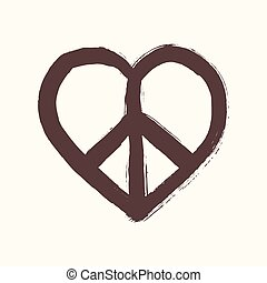 Isolated heart shape peace symbol brush style composition....
