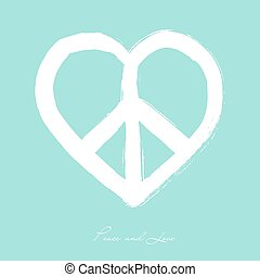 Isolated heart shape peace symbol brush style composition...