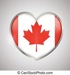 Isolated heart shape with the flag of Canada