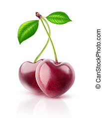 Isolated heart shaped cherries