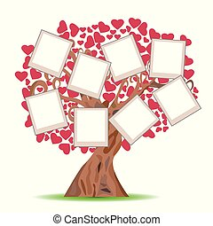 heart tree with picture frames - isolated heart tree with...