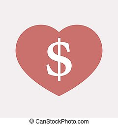 Isolated heart with a dollar sign