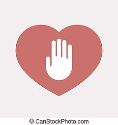 Isolated heart with a hand