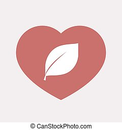 Isolated heart with a leaf