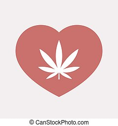 Isolated heart with a marijuana leaf
