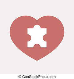 Isolated heart with a puzzle piece