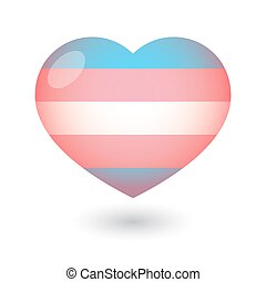 Isolated heart with a transgender pride flag