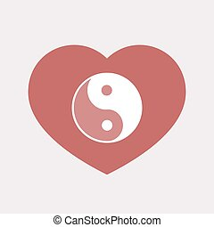 Isolated heart with a ying yang