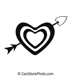 Isolated heart with an arrow