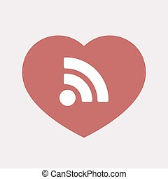 Isolated heart with an RSS sign