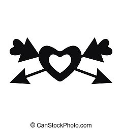 Isolated heart with arrows