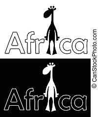 isolated., heiter, giraffe., satz, vektor