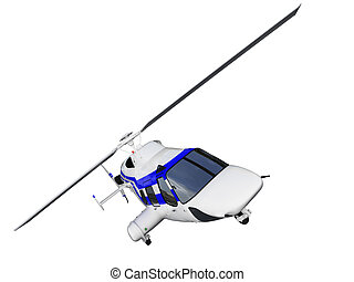 helicopter over white - isolated helicopter over white...