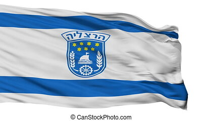 Isolated Herzliya city flag, Israel - Herzliya flag, city of...